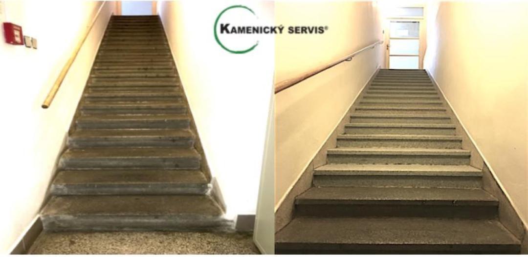 Renovace kamenných schodů a podest